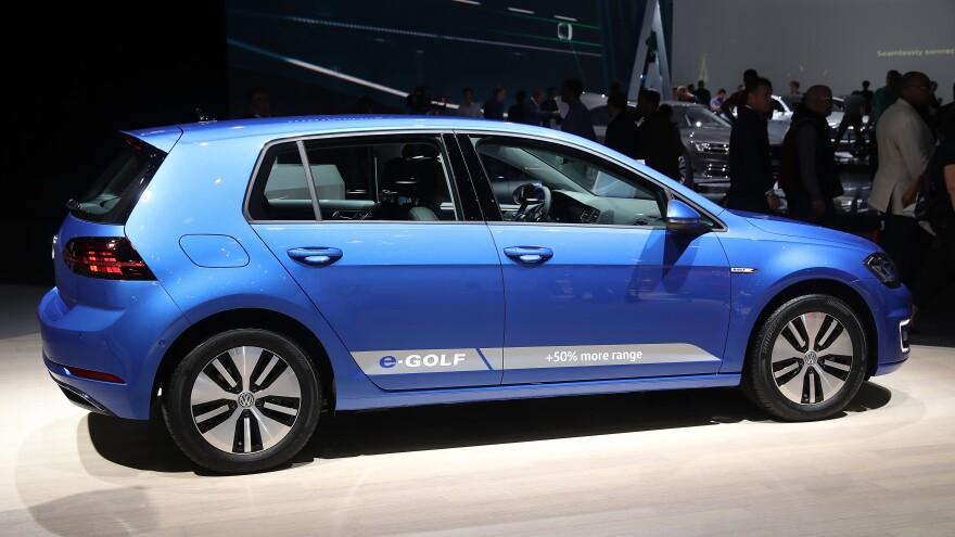 The Volkswagen e-Golf electric car is on display at the 2017 Frankfurt Auto Show in September.