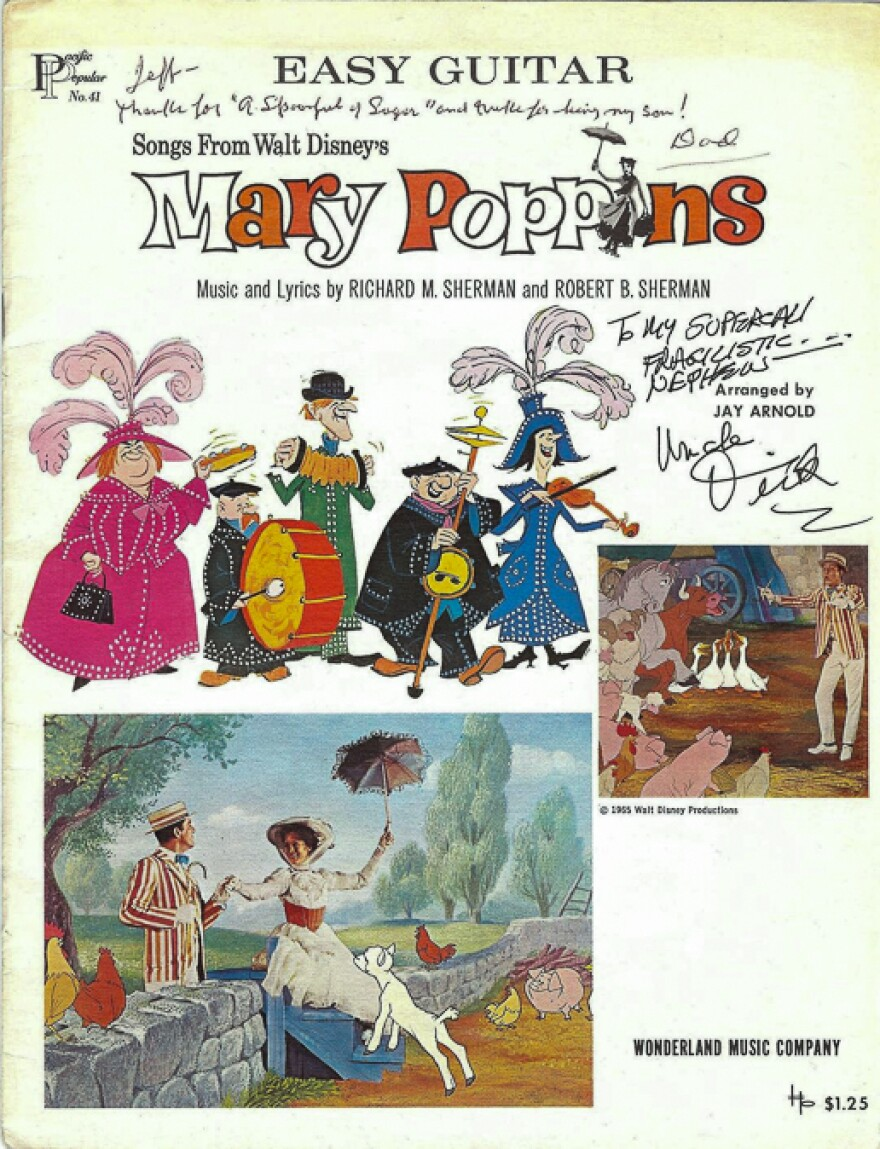 "Mary Poppins memorabilia from Jeffrey Sherman's childhood, with special dedication from the Sherman Brothers. Robert Sherman's dedication reads, ""Jeff --Thanks for 'A Spoonful of Sugar' and thanks for being my son! Dad."""