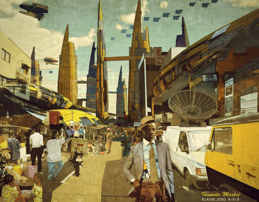 <em>Idumota Market, Lagos 2081 A.D.</em> by Ikire Jones