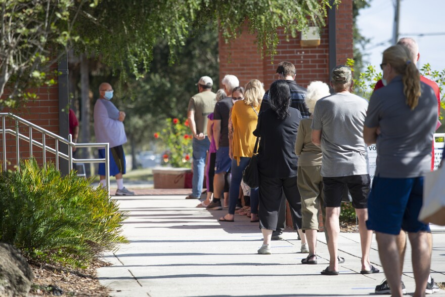Voters wait in line for Early Voting.