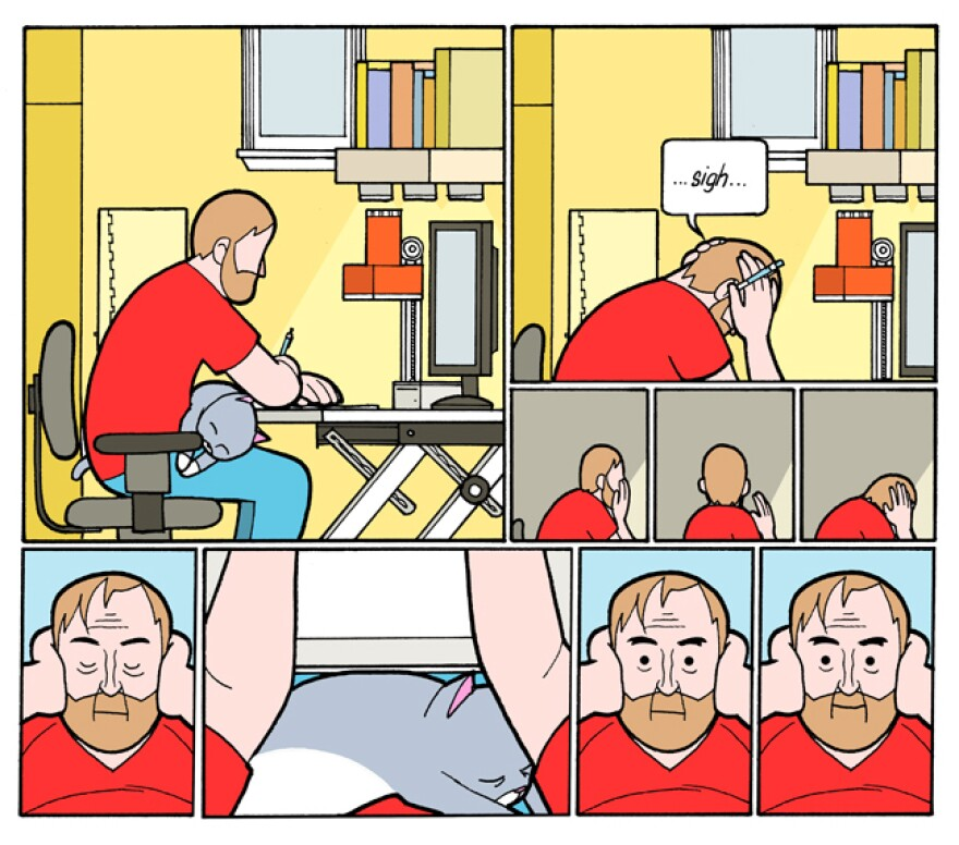 Mike and Ella in the style of Chris Ware.