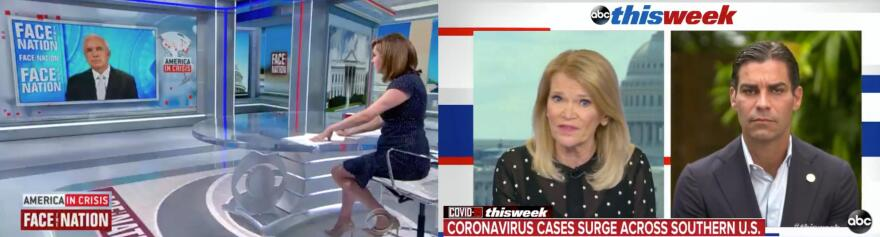 Miami-Dade County mayor Carlos Gimenez and city of Miami mayor Francis Suarez appeared on national television news programs to discuss the recent spike in COVID-19 cases.