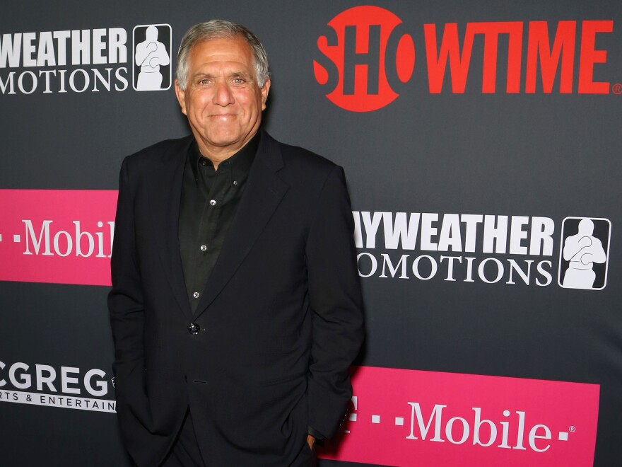 CBS CEO and Chairman Leslie Moonves arrives arrives at a promotional boxing aprty in August 2017. The 68-year-old has been accused by six women of sexual assault and harassment.