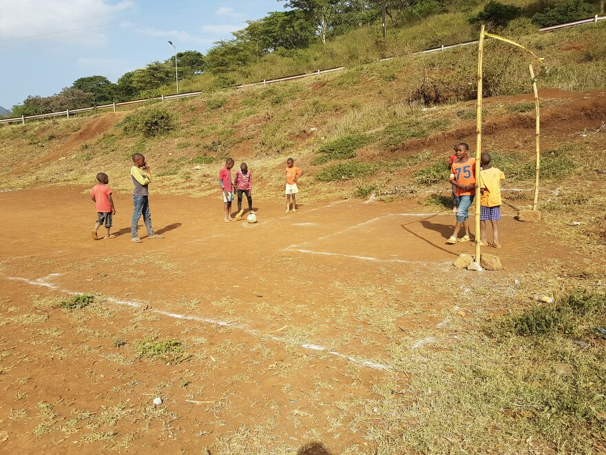 Tanzanian children playing soccer