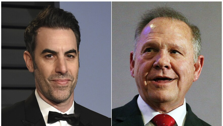 Comedian Sacha Baron Cohen (left) is facing a lawsuit from former Alabama Chief Justice and U.S. Senate candidate Roy Moore over an embarrassing appearance on Cohen's Showtime TV program, <em>Who Is America?</em>