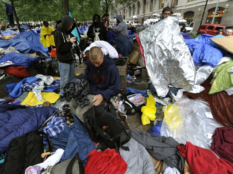 <p>The scene at Zuccotti Park on Thursday as Occupy Wall Street protesters started their own cleanup.</p>
