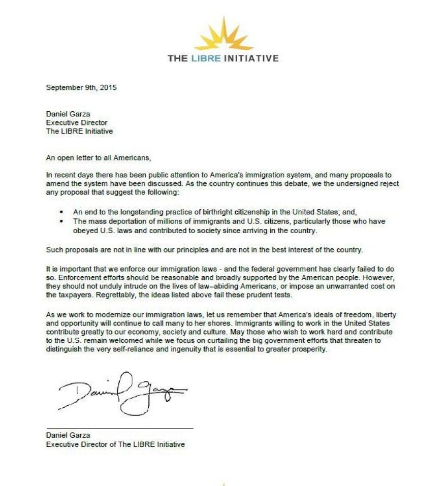 An open letter on immigration from conservative Latino group The Libre Initiative.