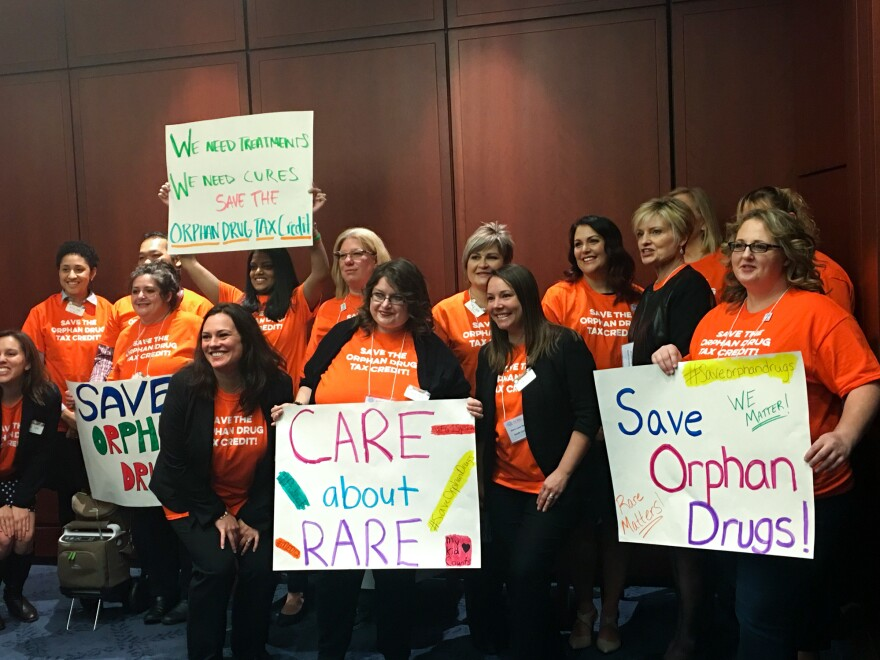Advocates for the National Organization of Rare Disorders rallied on Capitol Hill and then visited a couple of dozen lawmakers to argue for the orphan drug tax credit.
