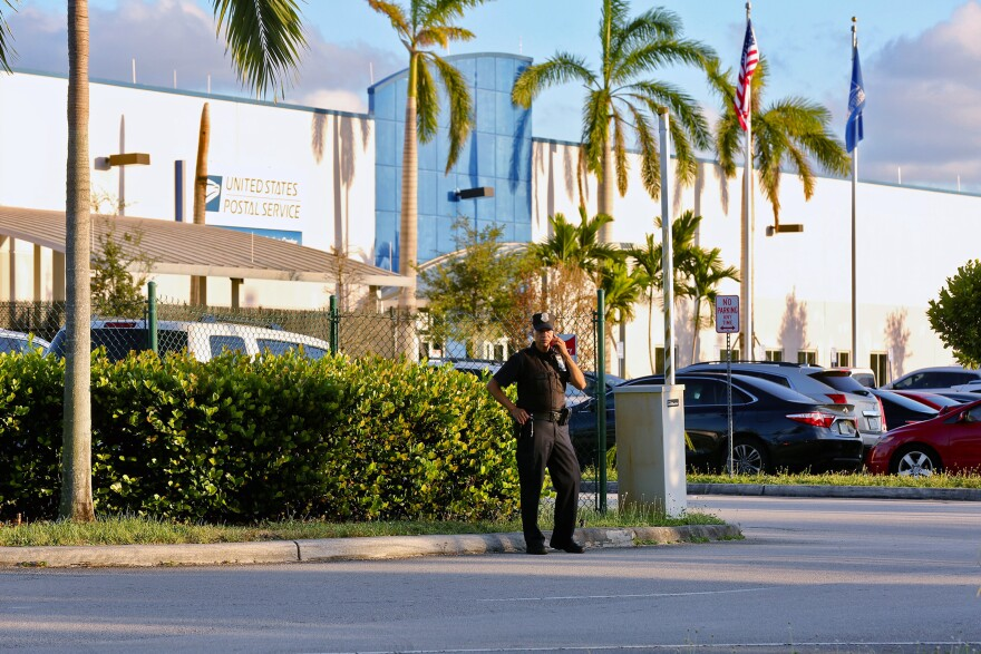 Police outside the U.S. Post Office Royal Palm Processing & Distribution Center, in Opa-locka, Fla., on Thursday. At least one of the recovered packages passed through the center.