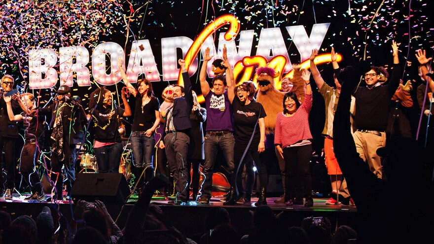 Actors take a bow after performing in BroadwayCon's opening ceremony, which was a kind of mini Broadway musical.