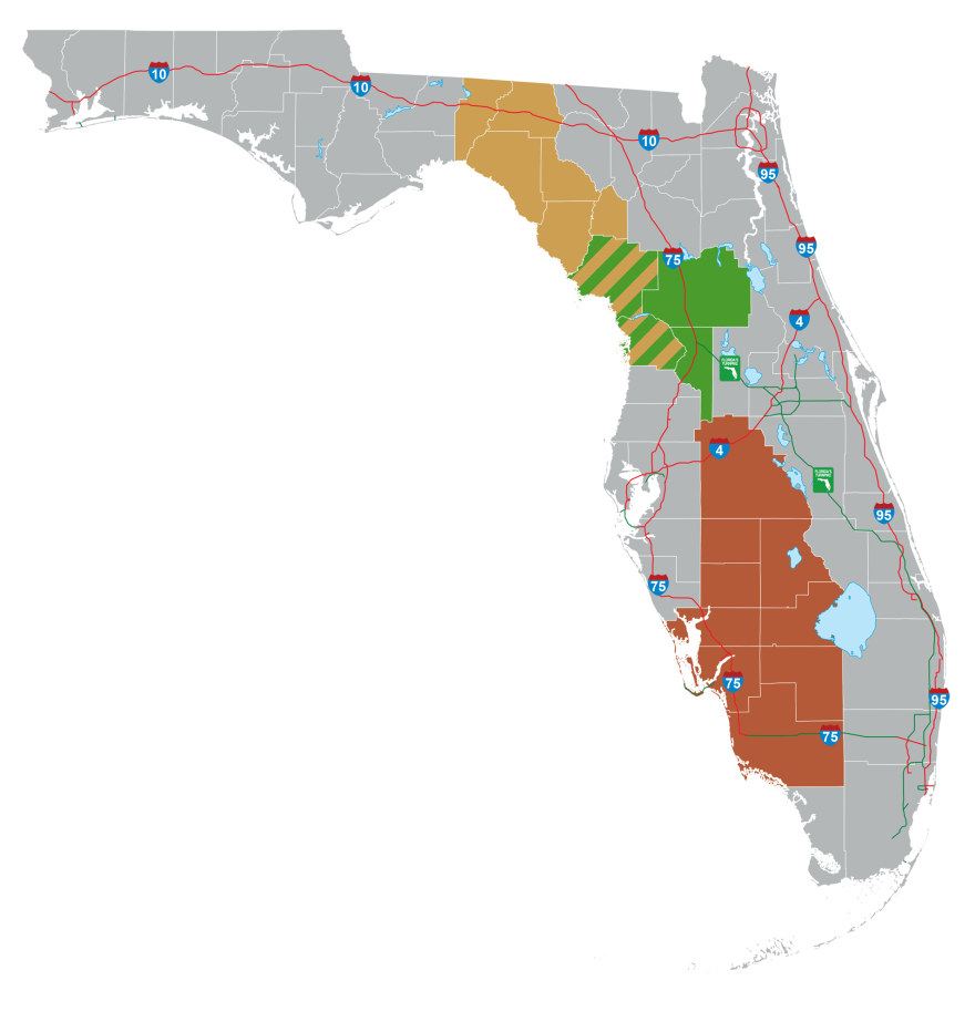 Map of three proposed toll roads