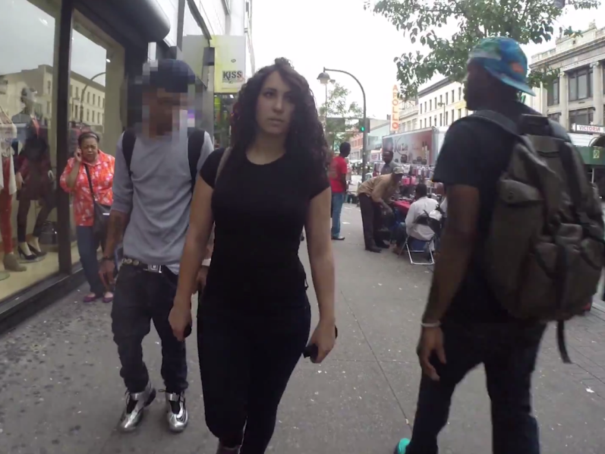 """<a href=""""http://www.youtube.com/watch?v=b1XGPvbWn0A"""">A viral video</a> called """"10 Hours of Walking in NYC as a Woman"""" shows the harassment a woman faces walking the streets of New York. Most of the men who street-harass, catcall, yell and follow the woman are black and Latino."""