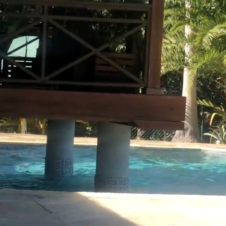 Waves splash in a pool during an earthquake in the Cayman Islands. Social media was flooded with photos and video from people documenting the event.
