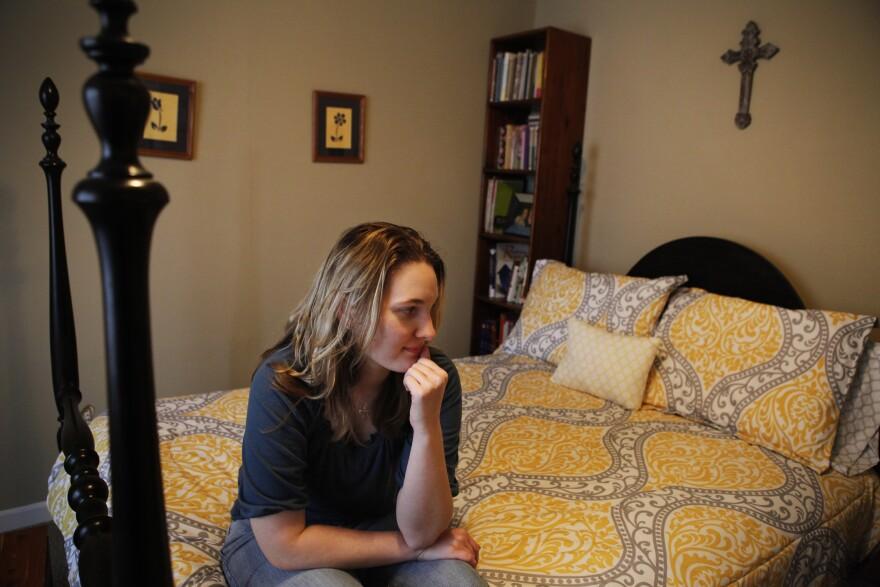 Sarah Hagan in a rare moment at home.