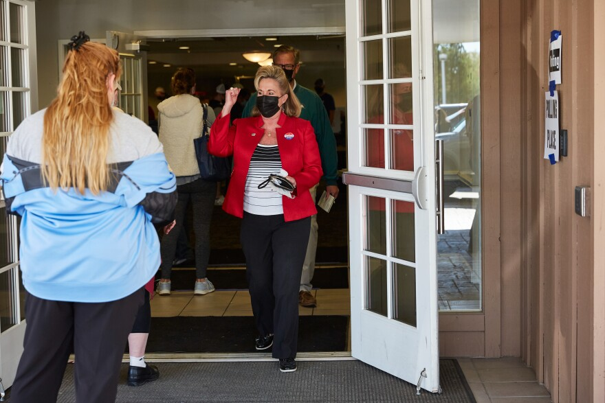 Congresswoman Ann Wagner exits the polls at the Ballwin Golf Course and Events Center on Election Day Tuesday, November 3, 2020.
