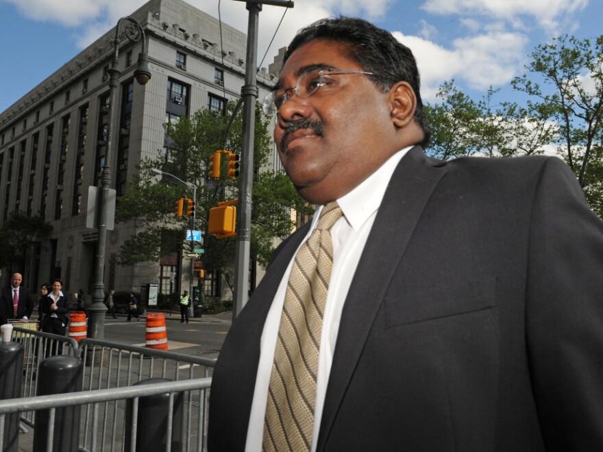 <p>Raj Rajaratnam, billionaire co-founder of Galleon Group, entering Manhattan federal court in May.</p>