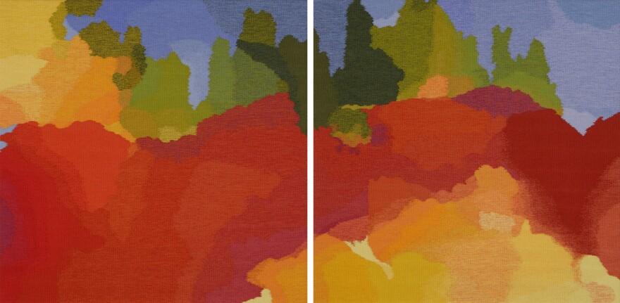 Ramona Sakiestewa (Hopi), <em>Nebula 22 & 23</em> (diptych), 2009, tapestry, wool warp and dyed wool weft