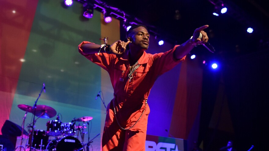 Duckwrth performs at 2018 BET Experience in Los Angeles. The rapper's latest project, <em>The Falling Man</em>, is due out May 17.
