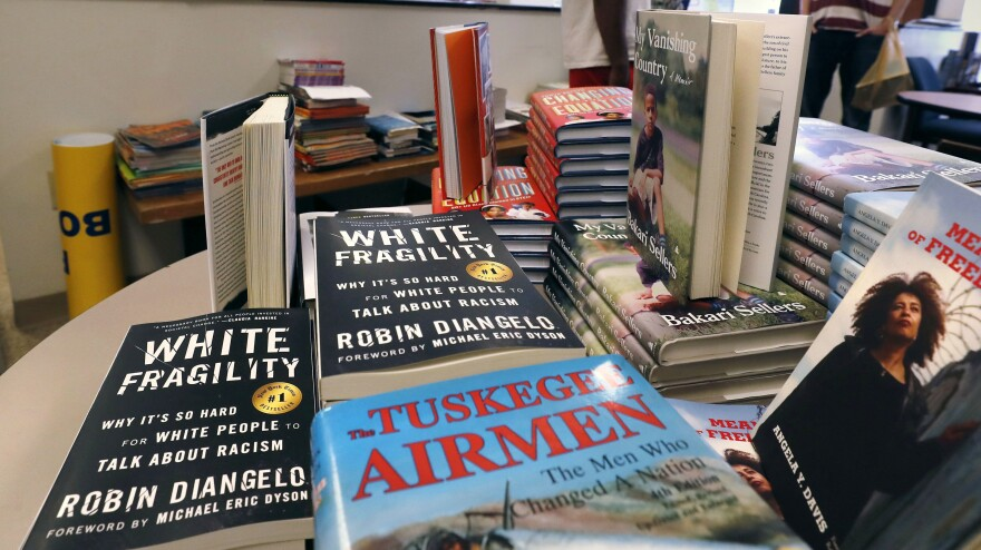 <em>White Fragility</em> is on display in June at the Frugal Bookstore in Boston. Columbia University John McWhorter says author Robin DiAngelo is well-intentioned but that the book ultimately is racist.