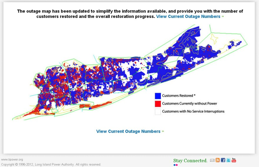 "Long Island Power Authority's <a href=""http://www.lipower.org/stormcenter/outagemap.html"">outage map</a>, as of 4 p.m. EST Wednesday. Blue indicates restored customers (in previous versions, blue represented areas without power)."