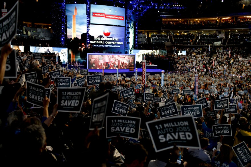 The second night of the Democratic National Convention focused heavily on the economy. Supporters and delegates cheered loudly for United Auto Workers President Bob King.
