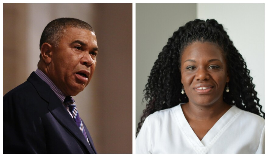 Lacy Clay, left, and Cori Bush, right, face each other in an Aug. 7 Democratic primary for Missouri's 1st Congressional District.