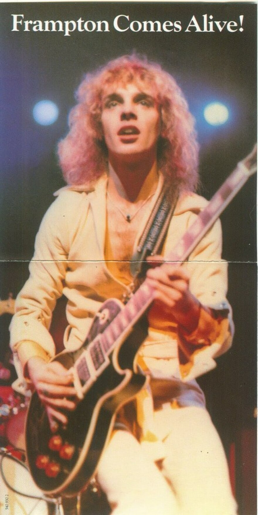 The unfolded LP cover of <em>Frampton Comes Alive!</em>, featuring Peter Frampton and his custom Les Paul.