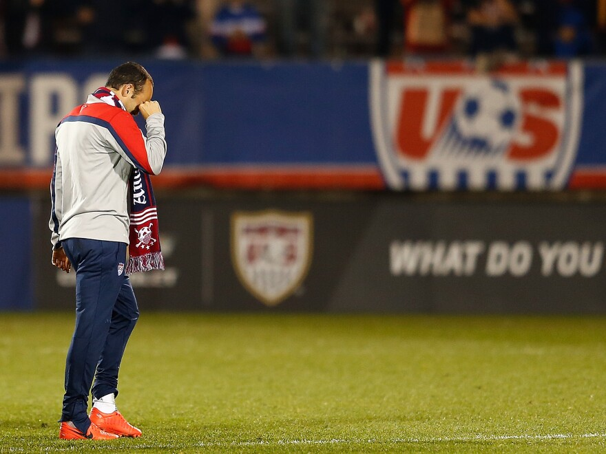 Donovan wipes away tears after watching a video tribute on the video scoreboard after the match.