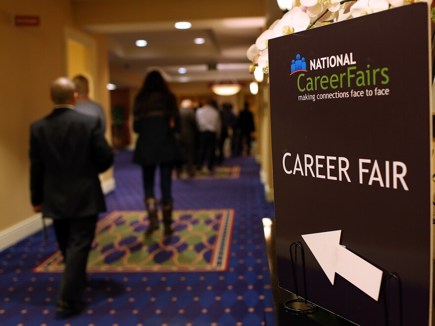 The scene at a job fair in San Mateo, Calif., earlier this year.
