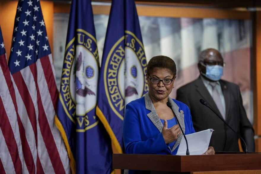 Congressional Black Caucus Chair Karen Bass speaks during a news conference Wednesday about the House vote on Confederate statues at the U.S. Capitol. The House legislation later passed in a 305-113 vote.