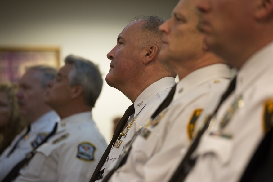 St. Louis County Police Chief Jon Belmar listens to U.S. Attorney General  Sessions' remarks. (03/31/17)