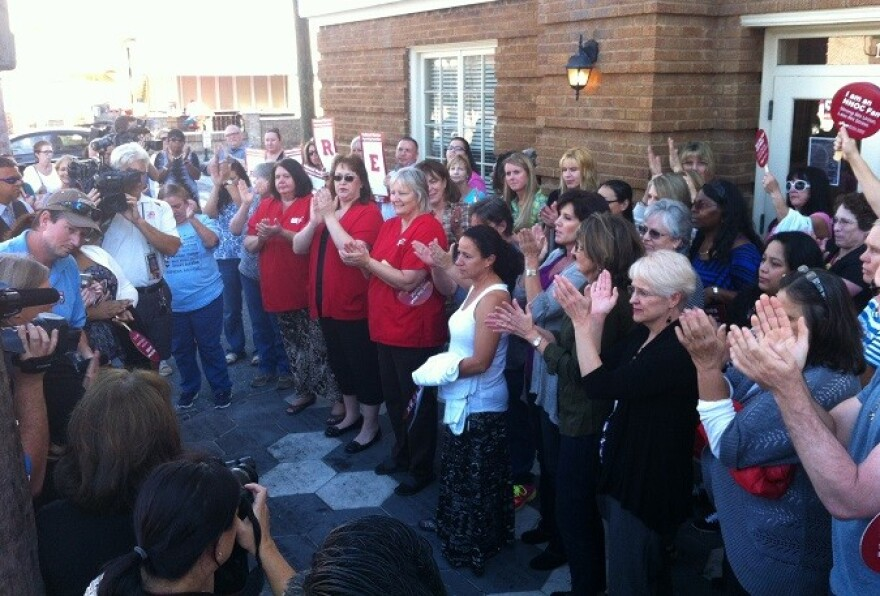 Nurses gather in Tampa's Ybor City to demand proper training on how to deal with Ebola.