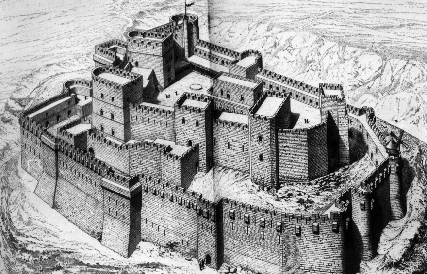 """An artist's rendering of the Crac des Chevaliers in Syria. UNESCO says the fortress """"was built by the Hospitaller Order of Saint John of Jerusalem from 1142 to 1271."""""""