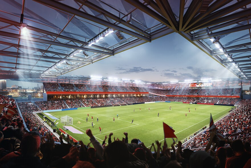 This rendering shows the interior design of a proposed 22,500-seat soccer stadium that could be built in downtown St. Louis. April 20, 2019