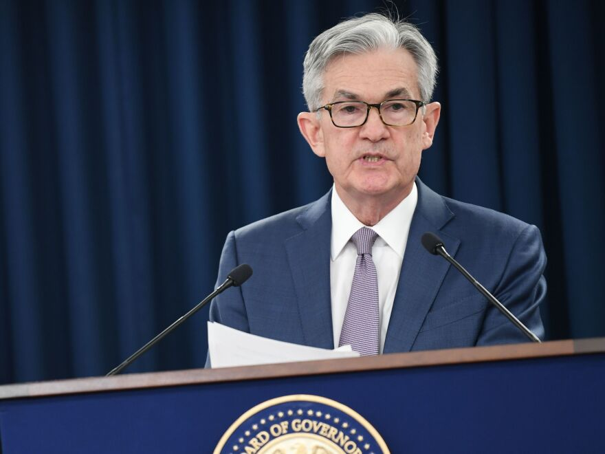Federal Reserve Chairman Jerome Powell speaks to reporters in March in Washington, D.C. In an interview Friday with NPR, Powell said it may take years before the economy has fully recovered.