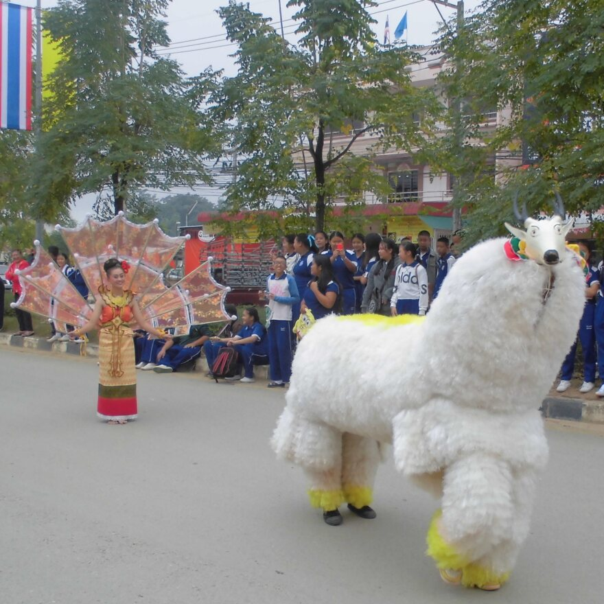 Thinking of Thanksgiving while watching a parade in Thailand.