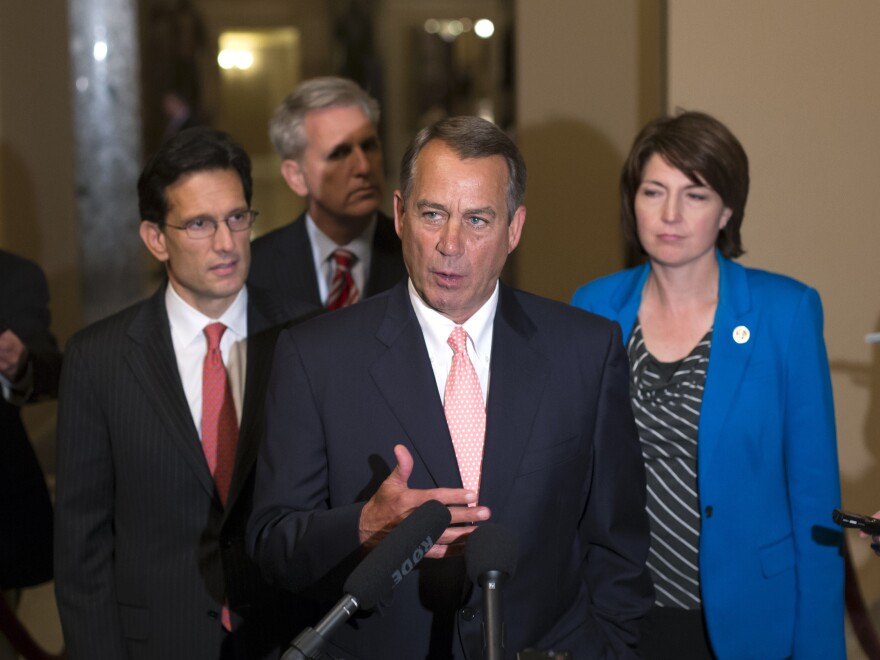 Speaker of the House John Boehner, R-Ohio (center), with House GOP leaders, speaks briefly to reporters on Oct. 1. Joining Boehner are (from left) House Majority Leader Eric Cantor, R-Va., House Majority Whip Kevin McCarthy, R-Calif., and Rep. Cathy McMorris Rodgers, R-Wash., the Republican conference chairwoman.