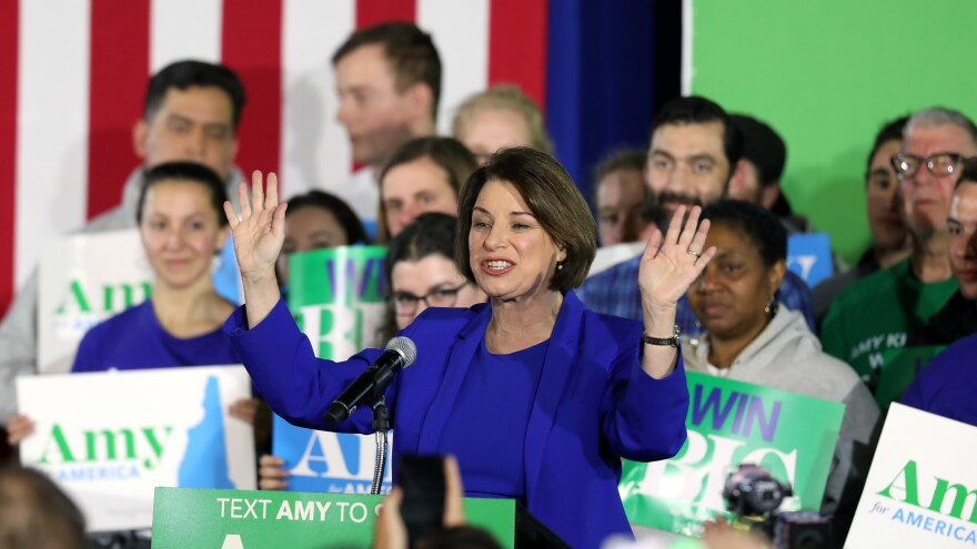 Democratic presidential candidate Sen. Amy Klobuchar, D-Minn., speaks onstage during a primary night event in Concord, N.H., on Tuesday celebrating her unexpected third place finish in the state's primary.