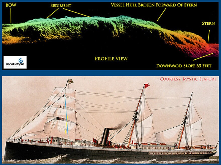 A sonar profile view of SS City of Rio de Janeiro above a painting of the steamer.