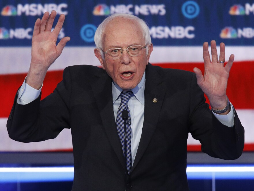 Vermont Sen. Bernie Sanders gestures as he makes a point.
