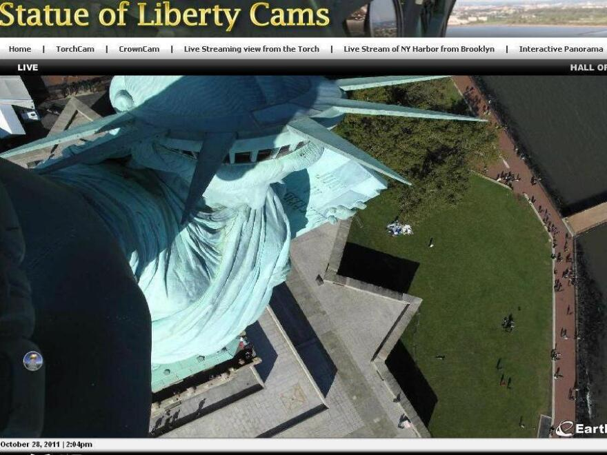 <p>The view from above at the Statue of Liberty, where webcams were turned on today.</p>