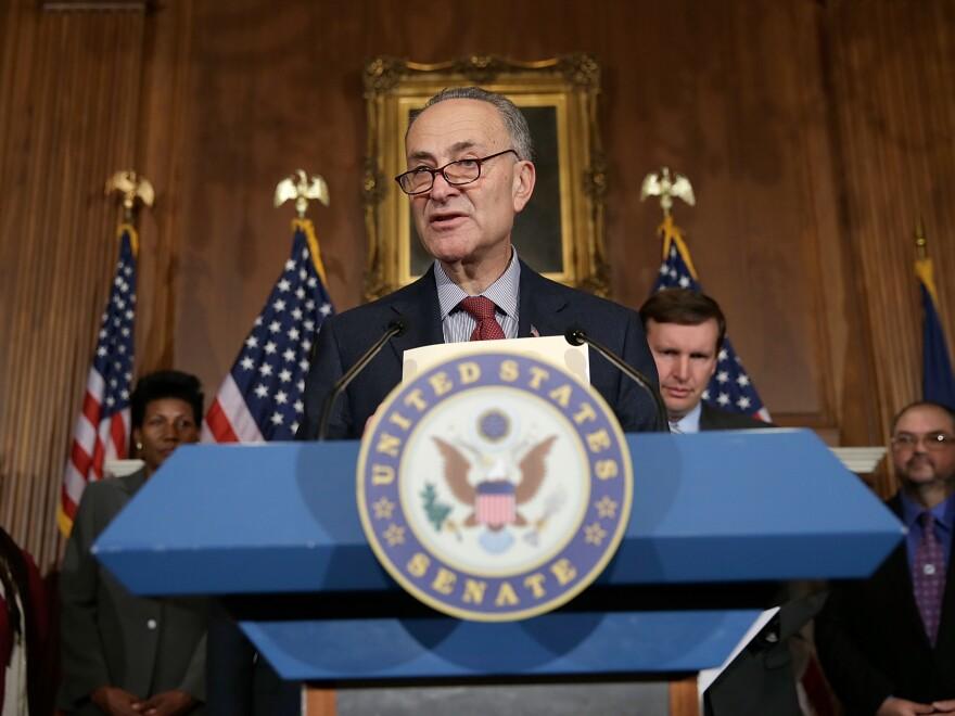 New York Democratic Sen. Charles Schumer speaks at a news conference on gun legislation earlier this year.
