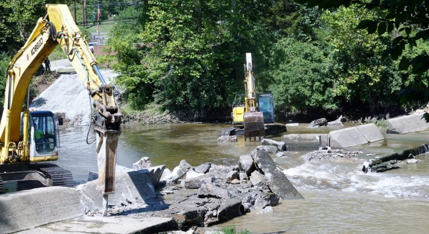 A low head damn being removed in 2019 from the East Fork of the Little Miami River in Batavia, Ohio