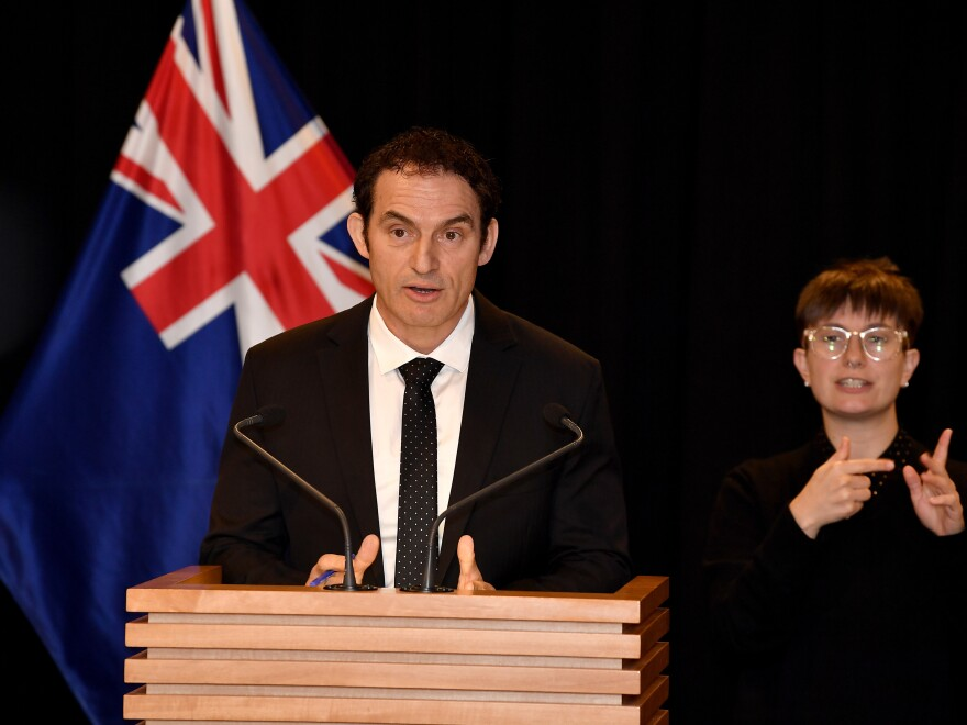 New Zealand Minister of Police Stuart Nash announces government decisions around the firearms buy-back and amnesty at Parliament on Thursday in Wellington.