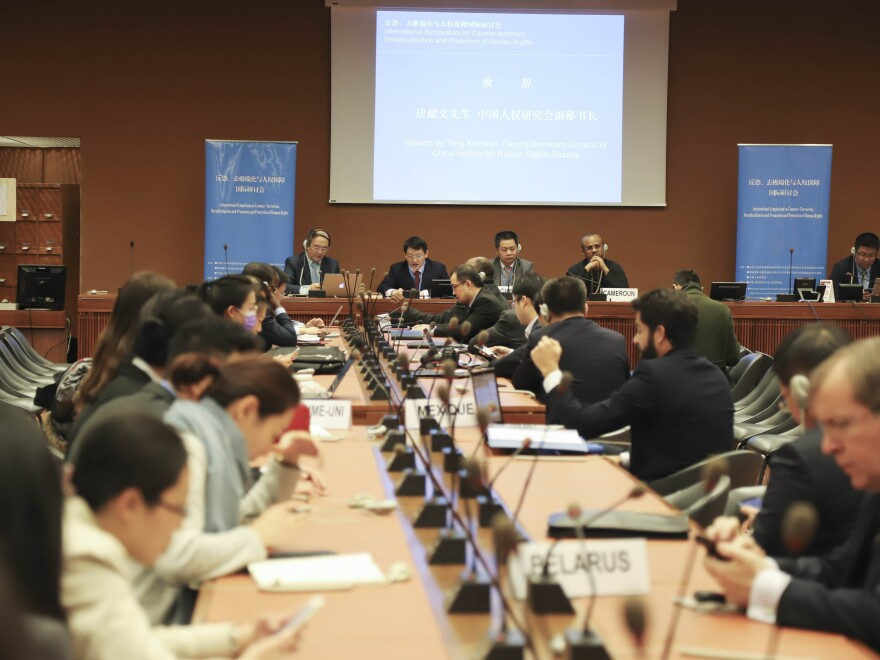 The U.N. Human Rights Council in Geneva, Switzerland, shown here in March, is planning to debate violence against protesters.