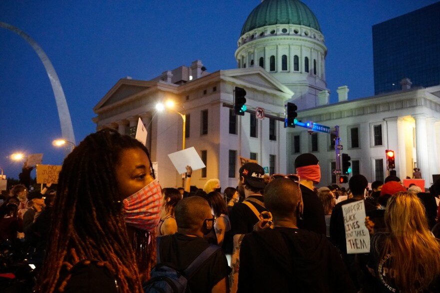 activists gather in front of the Old Courthouse to protest George Floyd's death in Minnesota. May 29, 2020