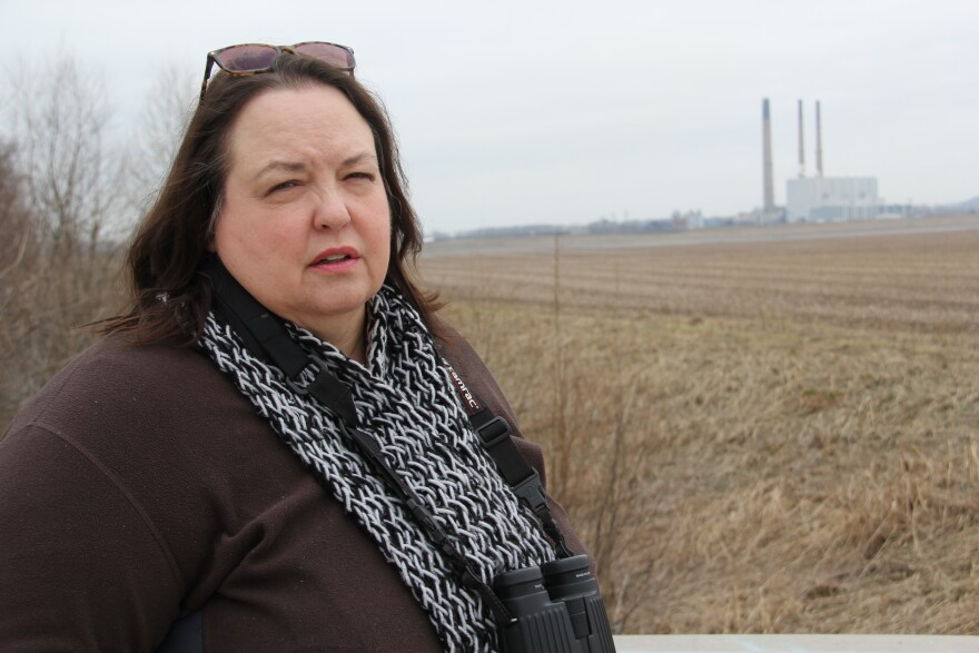 Environmental activist Patricia Schuba stands in front of the Labadie Energy Center.