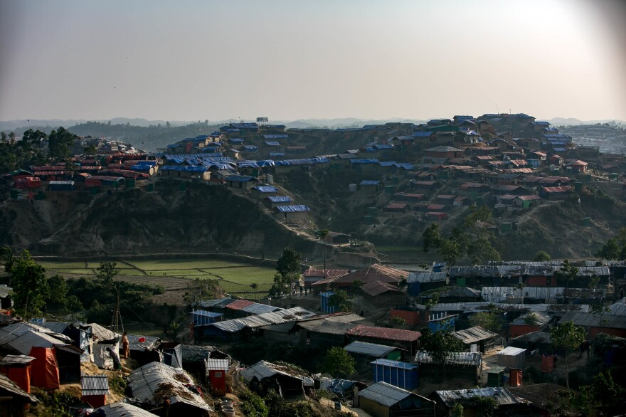 The view from one of the hills overlooking the Hakimpara refugee camp.