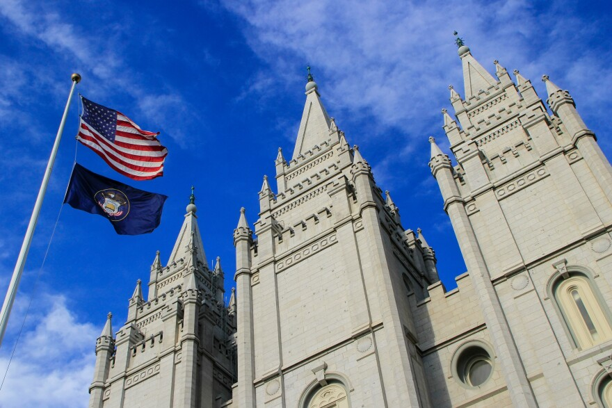 Photo of U.S. flag and LDS Temple.