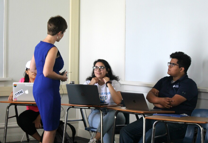 St. Mary's University students discuss code switching with Professor Meghann Peace during their Heritage Spanish class Sept. 23, 2019.